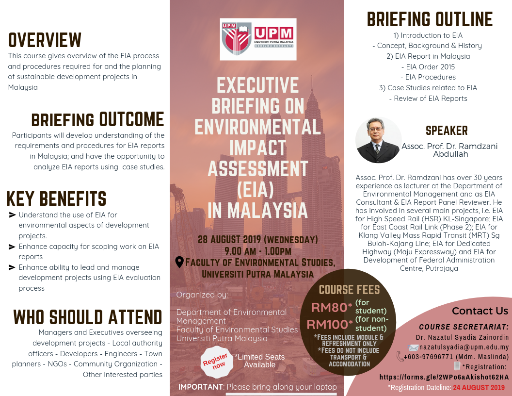 [Invitation to a Course] Executive Briefing on Environmental Impact Assessment (EIA) in Malaysia (28 August 2019)